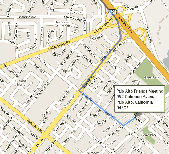 Map to Palo Alto Friends Meeting